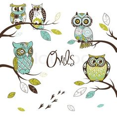 Vector of 'Collection of five different owls, sitting on the tree brunches'