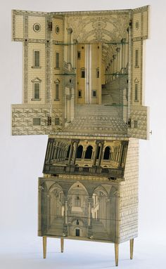 "Piero Fornasetti (Milano 1913-1988) and Gio Ponti (Milano 1891-1979) Bureau ""Architecture""1951 Lithographs on masonite, painted wood, metal, glass, 218 x 80 x 40.5 cm."