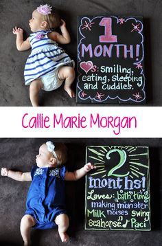 Baby girl changing month by month chalkboard