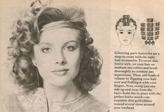 Retro curly hairstyle with roller setting pattern. Roller Set Hairstyles, 1970s Hairstyles, Classic Hairstyles, Fancy Hairstyles, Retro Hairstyles, Full Hair, Big Hair, Historical Hairstyles, Hair Patterns