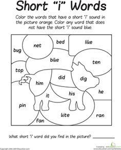 First Grade Phonics Worksheets: Short 'I' Sounds Color Puzzle