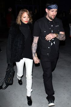 Nicole's boots with white jeans are sharp/ We Forgot How Cute Nicole Richie & Joel Madden Are #Refinery29