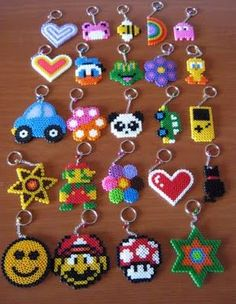 hama/perler bead or cross stitch design idea - charms, keyrings, jewelry, hair clips, cards. Easy Perler Bead Patterns, Perler Bead Designs, Hama Beads Design, Diy Perler Beads, Perler Bead Art, Pearler Beads, Art Perle, Iron Beads, Melting Beads