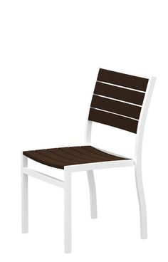 Polywood A100FAWMA Euro Dining Side Chair in Gloss White Aluminum Frame / Mahogany