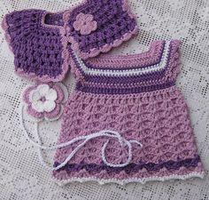 Waldorf Doll Clothes set of 3 : Lavender crochet dress, bolero and headband. by tatocka on Etsy Crochet Girls, Crochet Baby Hats, Crochet Slippers, Crochet For Kids, Crochet Doll Clothes, Knitted Dolls, Crochet Dresses, Knitting For Kids, Baby Knitting