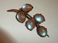 INCREDIBLE - OLD 1870's Antique VICTORIAN Branch PIN with SAPHIRET Glass JEWELS