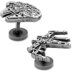 Cufflinks Men's Star Wars Millenium Falcon Cufflinks ($65) ❤ liked on Polyvore featuring men's fashion, men's accessories, cuff links, silver and mens cuff links
