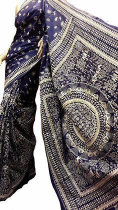 Navy blue kantha saree