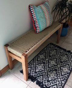Handmade Furniture, Home Decor Furniture, Furniture Makeover, Diy Home Decor, Furniture Design, Indian Home Interior, Indian Home Decor, Home Interior Design, Diy Woven Bench