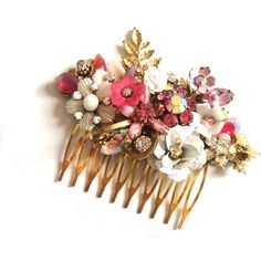 Pink bridal hair comb - wedding hair accessory - wedding haircomb -... ($126) ❤ liked on Polyvore