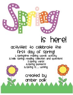 Spring is here freebie from Amber Polk! Cute math, writing and science warm ups
