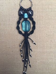 Medium Macrame Owl Keychain With Blue Beads