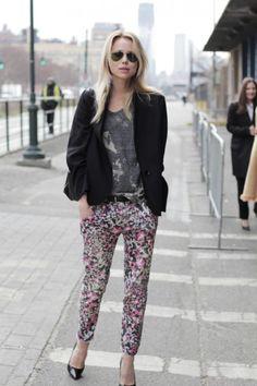 patterned pants & blazer