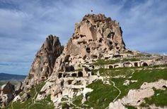 El castillo de Uchisar en Capadocia, Turquía.