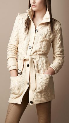 Burberry Brit Wool Cashmere Cable Knit Cardigan