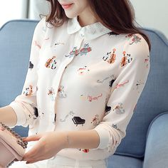 Cheap shirt wholesaler, Buy Quality shirt directly from China shirts tennis Suppliers: Peter Pan Collar Autumn Women Blouses Plus Size Women Shirts Casual Chiffon Long Sleeve Tops Feminina Blusas Femme Office Shirt Lace Homecoming Dresses, The Office Shirts, Gowns For Girls, Crop Top Sweater, Plus Size Blouses, Korean Women, Skirt Fashion, Shirt Blouses, Blouses For Women