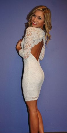 Make this into a long flared out at the bottom, with a small train, and it's the perfect wedding dress!