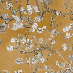 Walls Republic Van Gogh Blossoming Almond Trees x Floral and Botanical Plaster Wallpaper Roll Colour: Orange Van Gogh Wallpaper, Tree Wallpaper, Wallpaper Roll, Bright Wallpaper, Van Gogh Tapete, Contemporary Kitchen Backsplash, Art Nouveau, Van Gogh Almond Blossom, Chinoiserie Wallpaper