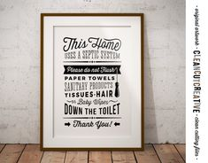 Bathroom Sign Septic System - Do Not Flush toilet sign - PDF JPG PNG jpeg - Printable Digital Artwork - retro/vintage sign - instant download Due…