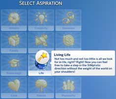 Living Life Custom Aspiration by FireFerret at Mod The Sims