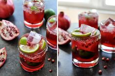 Cheers to the weekend! A recipe for a Pomegranate Margarita sounds pretty good! Party Drinks, Fun Drinks, Yummy Drinks, Beverages, Yummy Food, Tasty, Healthy Food, Refreshing Cocktails, Pomegranate Margarita