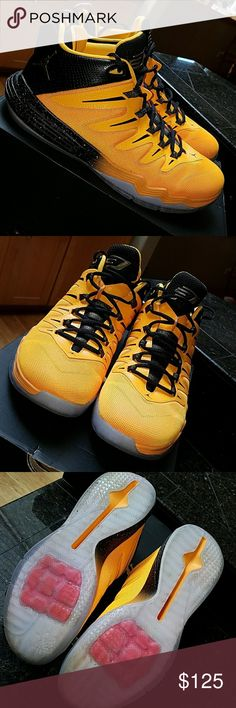 NIKE Jordan CP3.IX DRAGON SZ. 12 Some say yellow some say orange  😁my son wore these for a little bit as he grew out of them too quick to wear them out lol. Orange flecks on black by sole, gold Michael Jordan  jump man on rear. Dragon peeking out on back heel, sole is clearish w/red and orange see pics.  Black/metallic gold orange (see pic for color description) comes with box. Nike Shoes Athletic Shoes