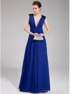 Special Occasion Dresses - $155.99 - A-Line/Princess V-neck Floor-Length Chiffon Sequined Evening Dress With Ruffle  http://www.dressfirst.com/A-Line-Princess-V-Neck-Floor-Length-Chiffon-Sequined-Evening-Dress-With-Ruffle-017019737-g19737