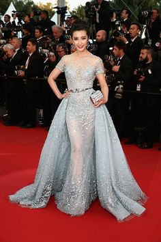 Li Bingbing in a blue wrapped sheer tulle prom gown at Cannes Film Festival 2015 red carpet. Li Bingbing Cannes 2015 dress for sale. Intricately lace embellished had all the makings of a fairytale with its enchanting embroidery. Evening Dresses, Prom Dresses, Formal Dresses, Wedding Dresses, Dresses 2016, Elegant Dresses, Pretty Dresses, Zuhair Murad, Red Carpet Gowns