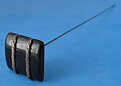 Hatpin Long Black Bakelite Chain Decorated Square UK
