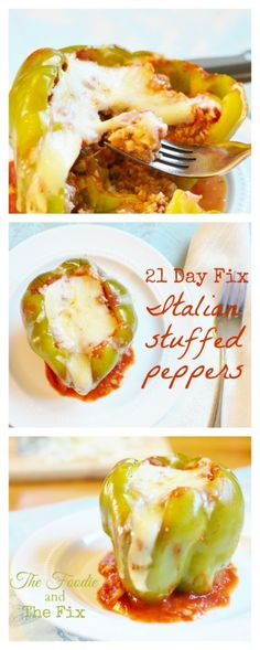 Super-cheesy, Italian-style stuffed peppers! So good and easy!! 21 Day Fix: 1 1/2 GREEN, 1 RED, 1/2 PURPLE, 1 (OR 1/2) BLUE