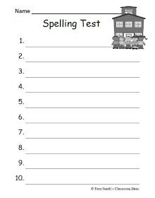 Fern Smith's FREE Year Round Blank Spelling Test Sheets For Both 10 or 15 Words - Classroom Freebies Spelling Test Template, Spelling Worksheets, Spelling Lists, Letter Worksheets, Spelling Activities, Spelling Words, Printable Worksheets, Printables, Printable Templates