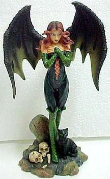Sexy Gothic Graveyard Fairy Figurine Bat Wings Faerie Gothic Fairy, Fairy Figurines, Cat Statue, Bat Wings, Faeries, Garden Sculpture, Fantasy, Dolls, Friends