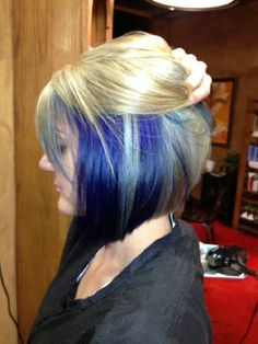 Asymmetrical Blue Hair Color! Maybe I should do this with blue blalck and blond. Not that short haha