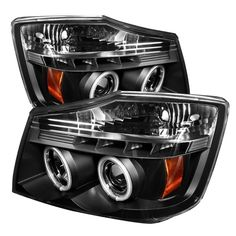 Spyder Auto | Nissan Titan 04-15 / Nissan Armada 04-07 Projector Headlights - CCFL Halo - LED ( Replaceable LEDs ) - Black - High H1 (Included) - Low 9006 (Not Included)
