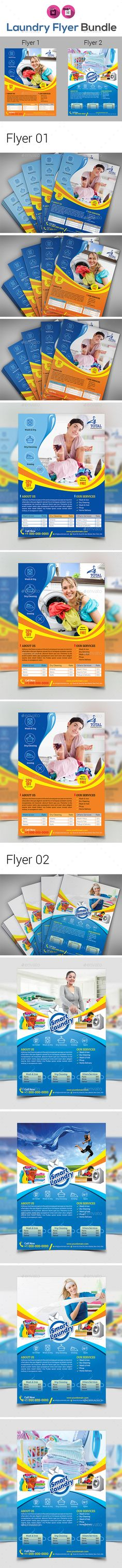 buy laundry dry cleaning services flyer bundle by on graphicriver features flyer 01 size bleed one design two color variationsblue orange files