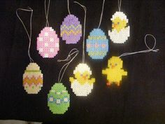 Hama and my own design Fuse Bead Patterns, Perler Patterns, Beading Patterns, Cute Crafts, Bead Crafts, Diy And Crafts, Easter Art, Easter Crafts, Easter Garland