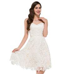 Beautiful Ivory Vintage Lace Short Wedding Dress