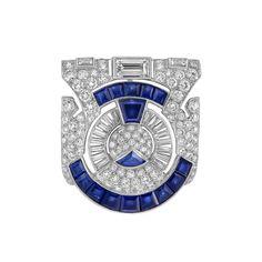 Art Deco Platinum, Diamond and Sapphire Clip-Brooch, Ross-Pennell -  circa 1930