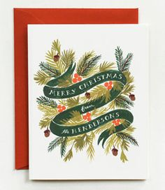 Personalized Winter Foliage Card by Rifle Paper Co. Christmas Trends, Nordic Christmas, Merry Little Christmas, Christmas Design, Handmade Christmas, Christmas Time, Christmas Images, Christmas Wreaths, Company Christmas Cards