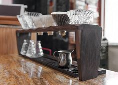 Pour Over Coffee Brewing Coffee Stand for FIVE dripper in-stock Pour Over Coffee, Drip Coffee, Coffee Dripper, V60 Coffee, Starting A Coffee Shop, Coffee Holder, Coffee Cup Design, Coffee Tattoos, Coffee Stands