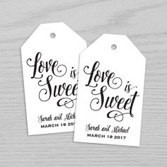 Wedding Tag Love is sweet wedding tag Favor Tags by BrightPaper