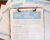 The Budget and Bill Pay Kit - Aqua and Lime - 6 documents - INSTANT DOWNLOAD