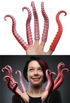 Finger Tentacles from thinkgeek. Soo weird but I think I want them lol Creative Words, Creative Design, Halloween Projects, Tentacle, Inspire Me, Make Me Smile, Cover Design, Creepy, Weird