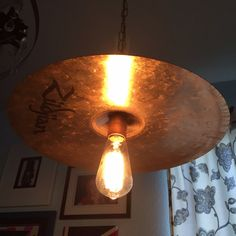 Zildjian drum cymbal pendant light. Parker's Mantiques. Etsy.com