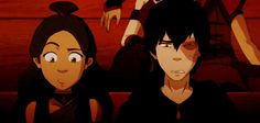 When Zuko and Katara got embarassed when even the fire nation shipped Katara in the play versions of them