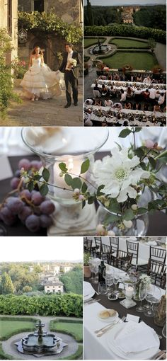 "Tuscany Wedding by Italia Celebrations | Style Me Pretty - A string quartet strummed ""O Sole Mio"" as Elena walked down the aisle"