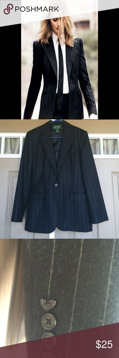 Ralph Lauren Blazer This blazer is 100% wool and has one closing button. Two real pockets in the front and fully lined in 100% polyester. Slightly dusty from storage a chip on the sleeve button. Shoulder pads are sewn inside Ralph Lauren Jackets & Coats Blazers