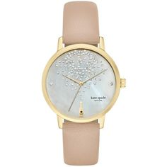 kate spade new york KSW1015 Women's Metro Crystal Champagne Leather... ($300) ❤ liked on Polyvore featuring jewelry, watches, sparkle jewelry, water resistant watches, white watches, kate spade and clear crystal jewelry