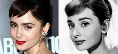 I just realized why I love Lily Collins so much, she resembles Audrey Hepburn in a way. My life now makes sense. Celebrity Look, Celebrity News, Lily Collins Audrey Hepburn, Love Lily, Look Alike, Gal Gadot, Looks Style, Hollywood Stars, Dark Hair