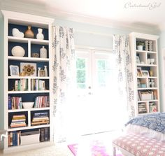 Maybe we need to customize a Billy bookcase like this. Make an IKEA Billy bookcase more stylish and refined - add crown molding, trim, and dividers (BM 'Dove White' matches), paint back Glidden 'Regal Wave') Billy Ikea Hack, Ikea Billy Bookcase Hack, Bookshelves Built In, Built Ins, Billy Bookcases, Ikea Bookshelf Hack, Bookshelf Makeover, Ikea Bookcase With Doors, Building Bookshelves